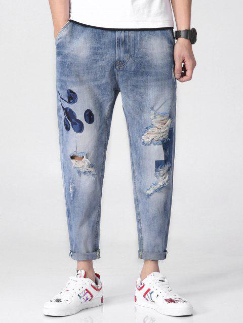 Floral Embroidery Ripped Zipper Fly Denim Jeans - BLUE GRAY 38