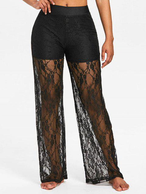 Lace High Waisted Wide Leg Pants - BLACK 2XL