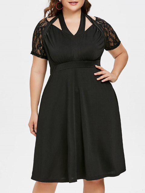75% OFF] 2019 Plus Size Empire Waist Knee Length Dress In BLACK ...