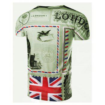 Round Neck Union Jack Print Short Sleeve Men's T-Shirt - COLORMIX L
