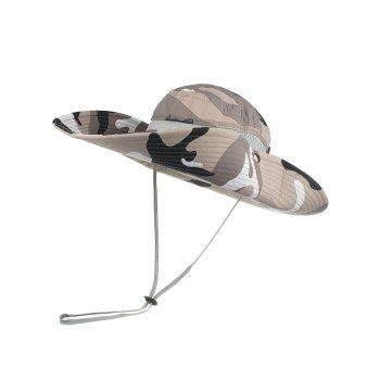 Lightweight Camo Pattern Mesh Sunscreen Hat - WHITE