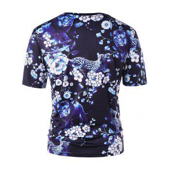 Short Sleeve Floral Animal 3D Print Tee - BLACK 2XL