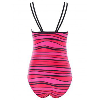 Spaghetti Strap One Piece Stripe Swimwear - DIMORPHOTHECA MAGENTA XL