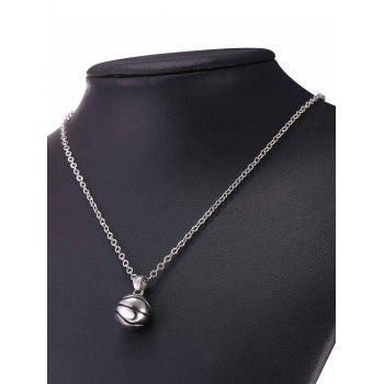 Alloy Basketball Pendant Necklace - SILVER