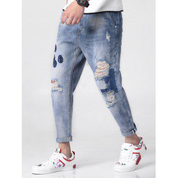 Floral Embroidery Ripped Zipper Fly Denim Jeans - BLUE GRAY 32
