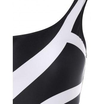 Stripe One Shoulder One Piece Swimsuit - BLACK 2XL