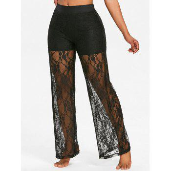 Lace High Waisted Wide Leg Pants - BLACK S