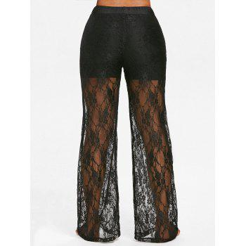 Lace High Waisted Wide Leg Pants - BLACK L