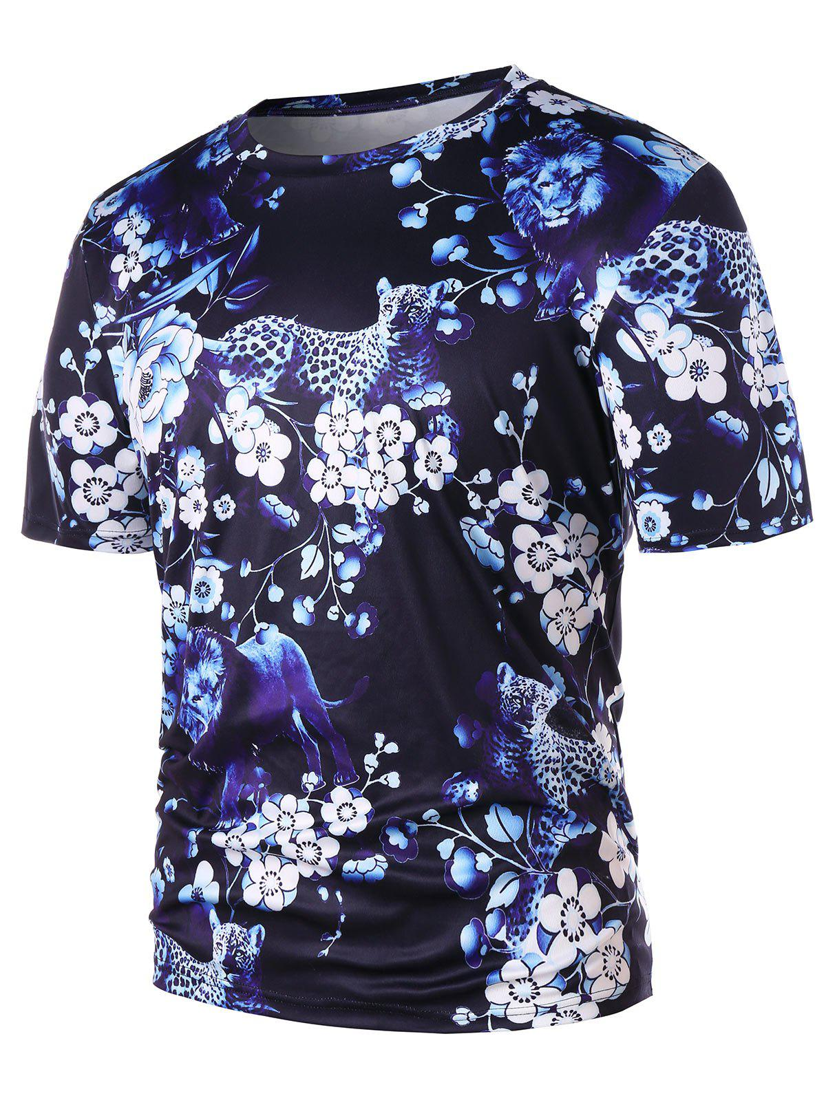 Short Sleeve Floral Animal 3D Print Tee - BLACK L