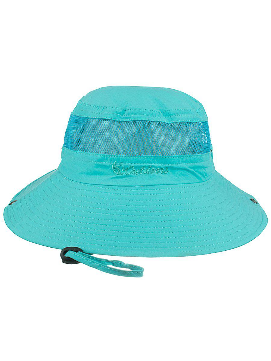 Letter Embroidery Mesh Breathable Fisherman Hat - BLUE ZIRCON
