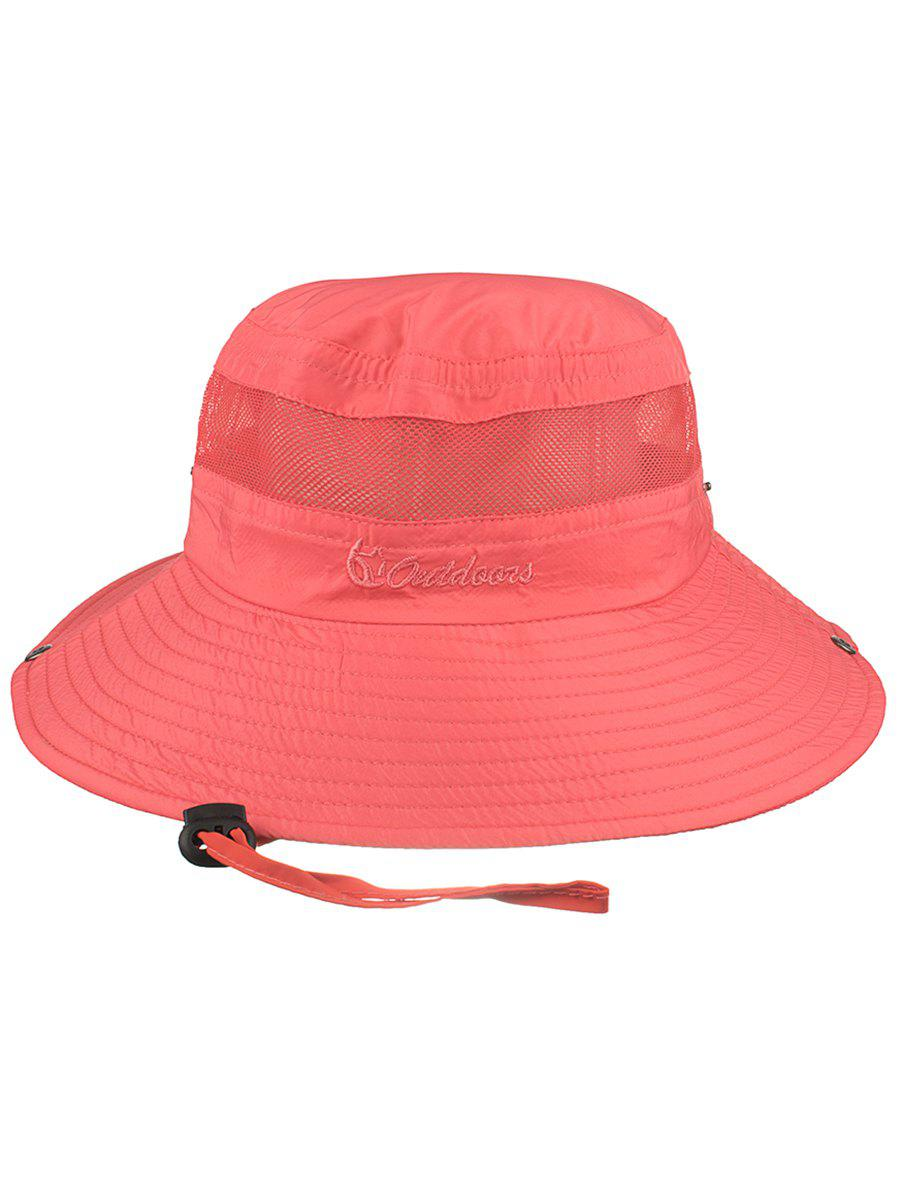 Letter Embroidery Mesh Breathable Fisherman Hat - WATERMELON PINK