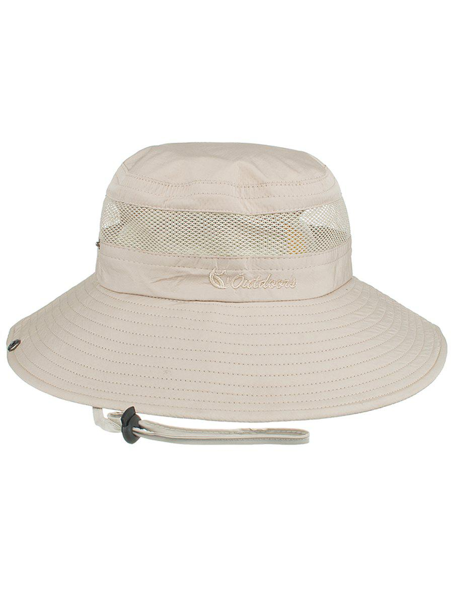 Letter Embroidery Mesh Breathable Fisherman Hat - BEIGE