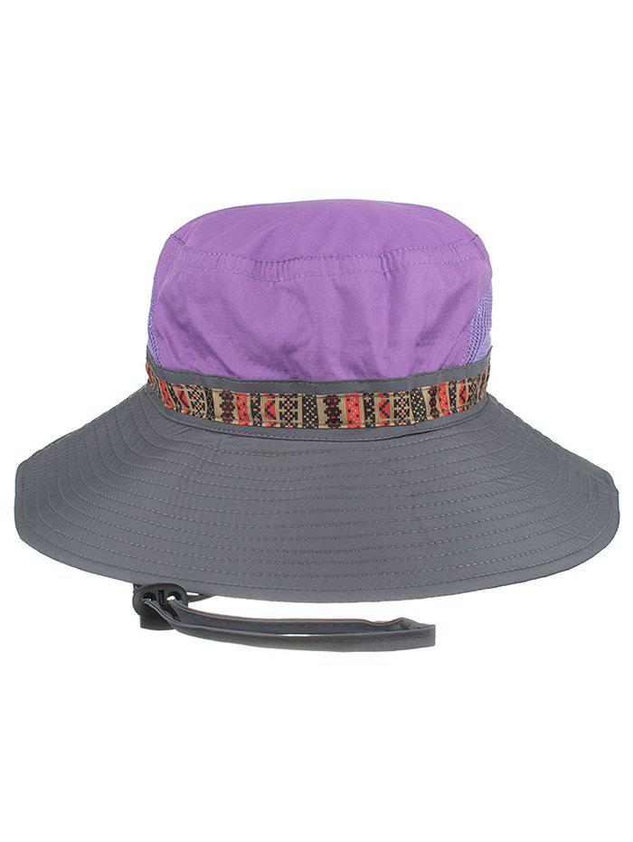 Outdoor Wide Brim Mesh Breathable Bucket Hat - PURPLE