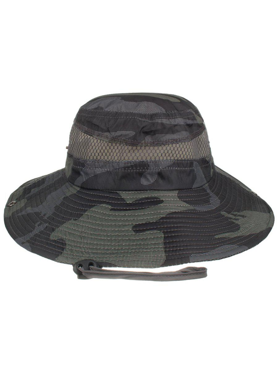Lightweight Camo Pattern Mesh Sunscreen Hat - BLACK