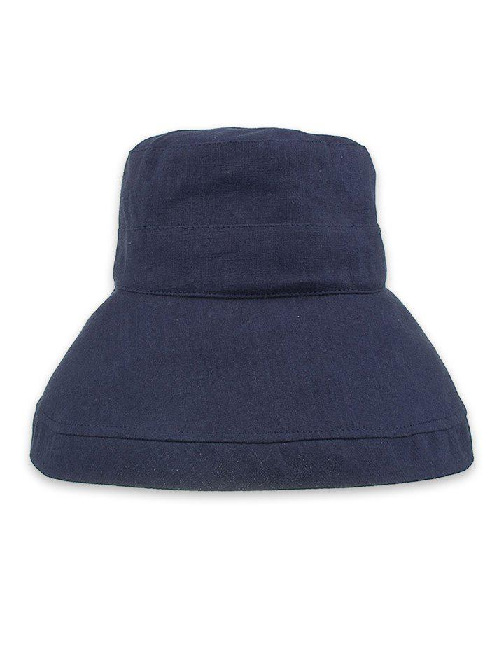 Solid Color Foldable Beach Travel Bucket Hat - DARK SLATE BLUE