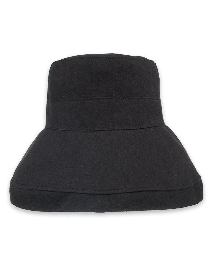 Solid Color Foldable Beach Travel Bucket Hat - BLACK