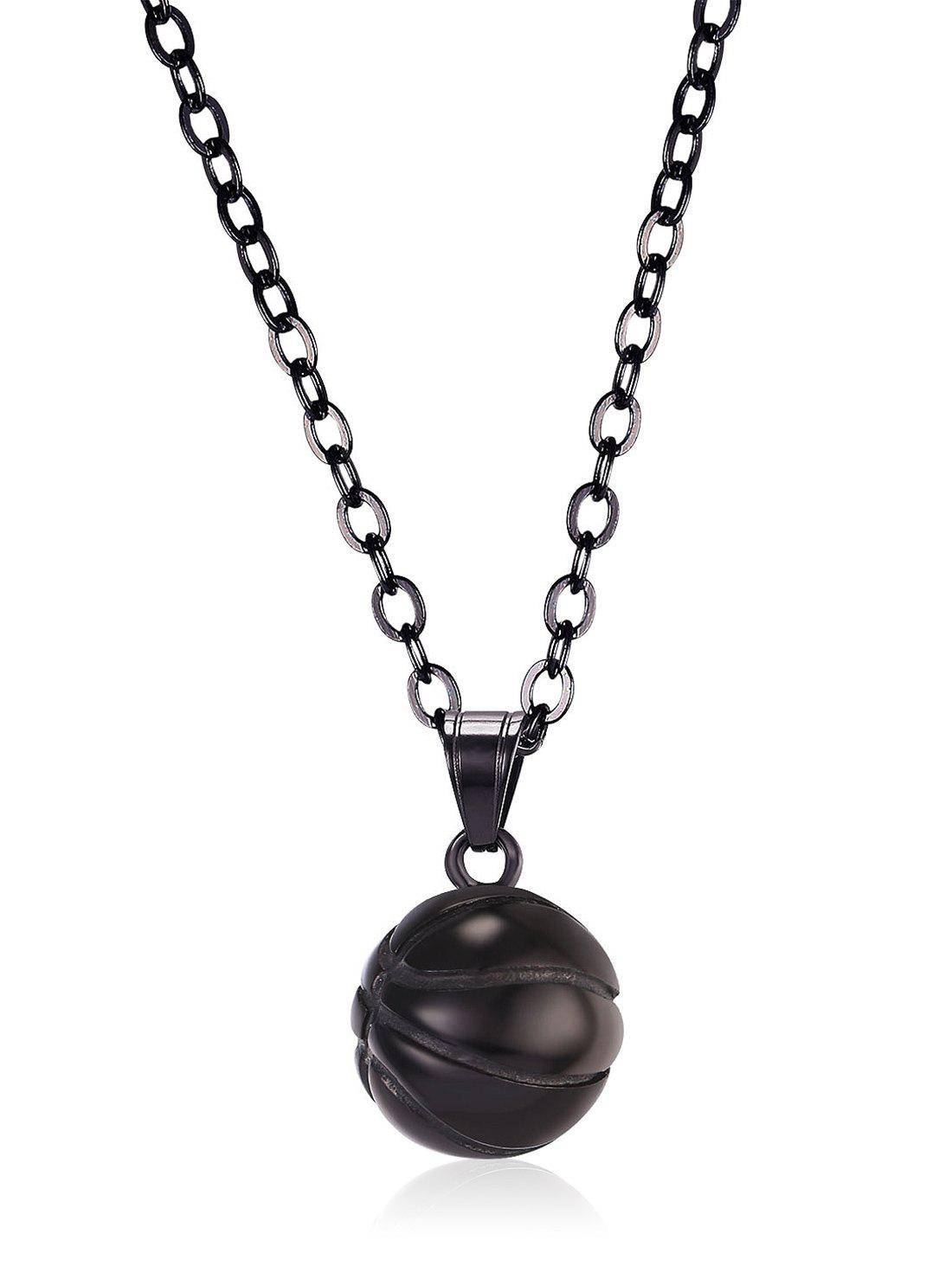 Alloy Basketball Pendant Necklace - BLACK