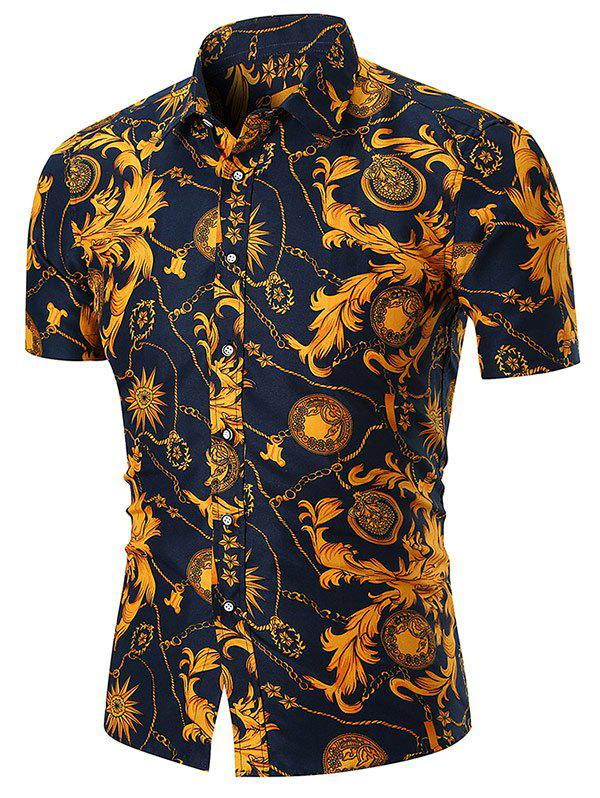 Retro Floral Chain Print Button Up Shirt - GOLD M