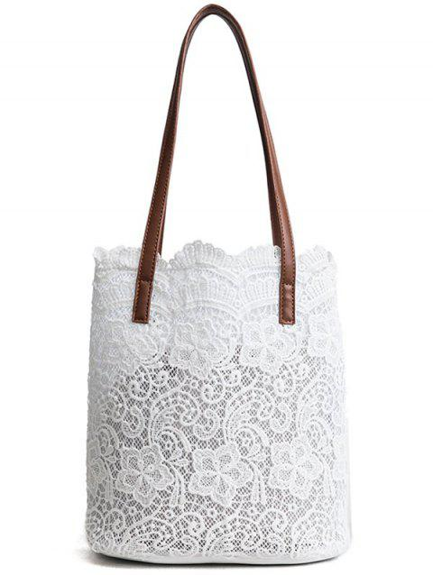 Chic Lace 2 Pieces Shoulder Bag Set - WHITE