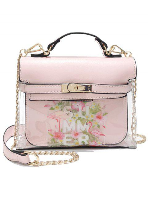 Top Handle Flower 2 Pieces Crossbody Bag Set - PINK