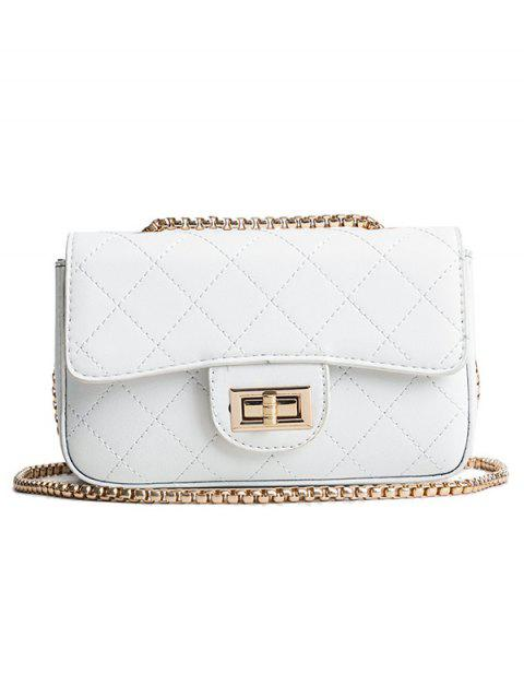 Flap Quilted Casual Crossbody Bag - WHITE