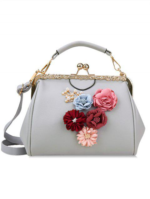 Retro Party Flower Metallic Crossbody Bag - GRAY