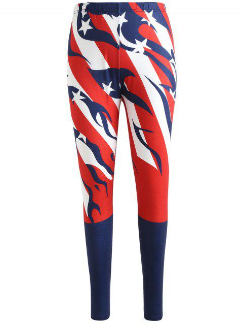 American Flag Elastic Waist Pants - LOVE RED S