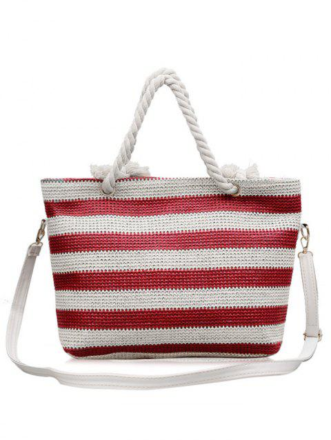 Naval Style Striped Straw Shopping Bag - LAVA RED