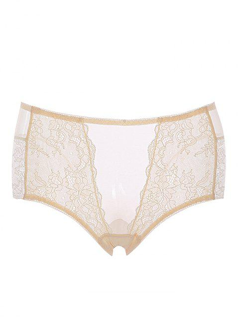 Breathable Lace Mid Rise Underwear - CORNSILK ONE SIZE(FIT SIZE XS TO M)