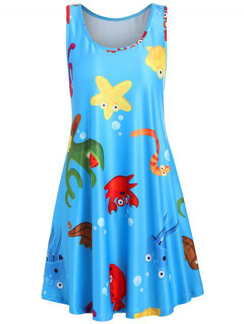 Sleeveless Underwater Animal Print Shift Dress - BLUE XL