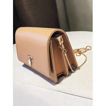 Retro Chain Flap Crossbody Bag - LIGHT KHAKI