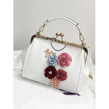 Retro Party Flower Metallic Crossbody Bag - WHITE