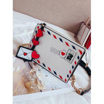 Chain Retro Postcard Crossbody Bag - WHITE