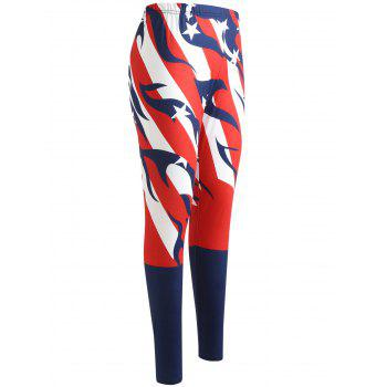 American Flag Elastic Waist Pants - LOVE RED 2XL