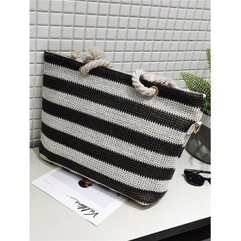 Naval Style Striped Straw Shopping Bag - COFFEE