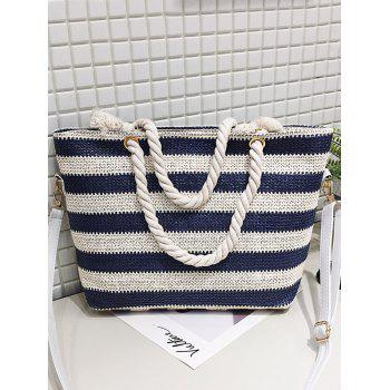 Naval Style Striped Straw Shopping Bag - STEEL BLUE