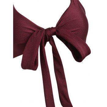 Floral Halter Bowknot Bikini Set - RED WINE M