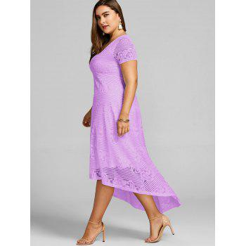 Plus Size High Low Lace Party Dress - MAUVE XL