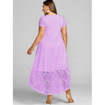 Plus Size High Low Lace Party Dress - MAUVE 3XL