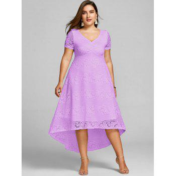 Plus Size High Low Lace Party Dress - MAUVE 5XL