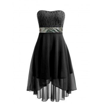 Sequined Waist Chiffon Bandeau Dress - BLACK XL