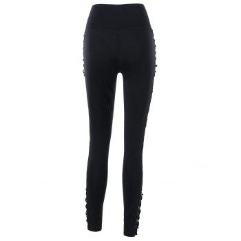 High Rise Criss Cross Lace Panel Pencil Pants - BLACK M