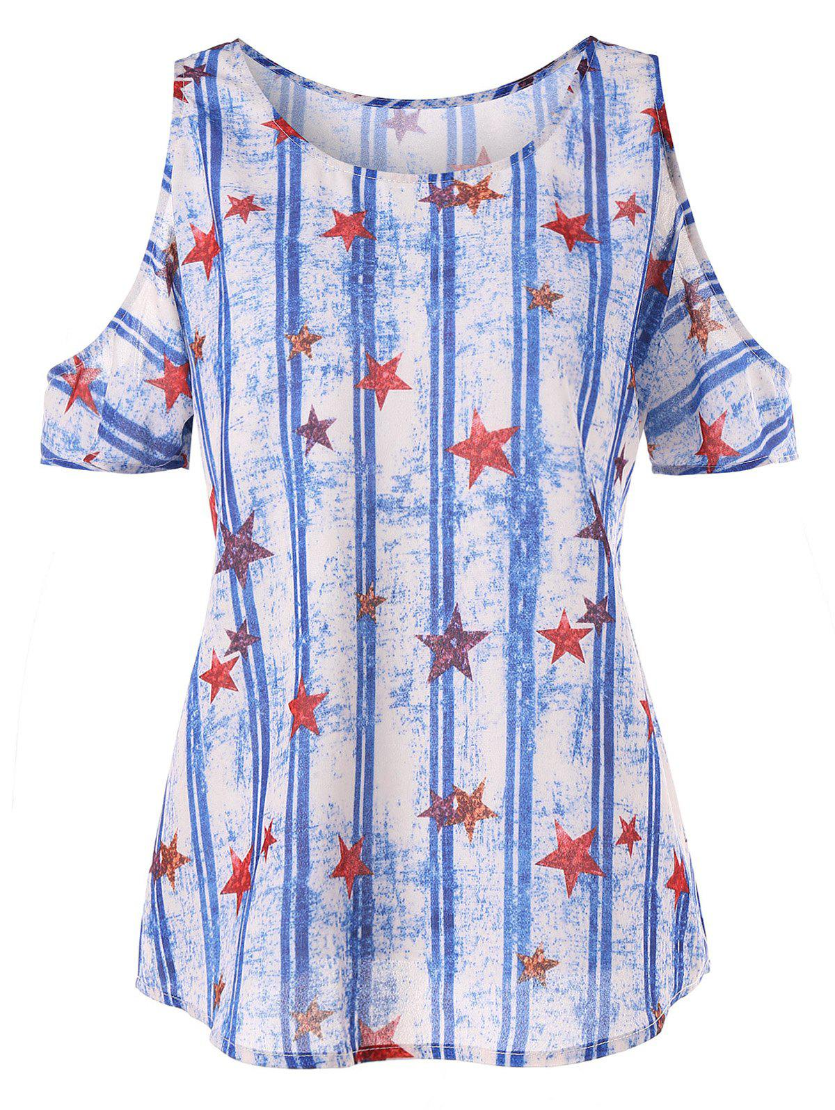 Stars and Stripes Cold Shoulder T-shirt lizard сандали hike w 41 cube violet