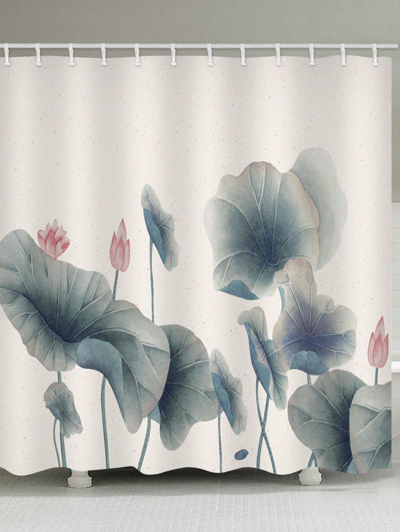 Lotus Leaves and Lotus Print Bathroom Water Resistant Shower Curtain lotus landscape print 180 180cm polyester shower curtain