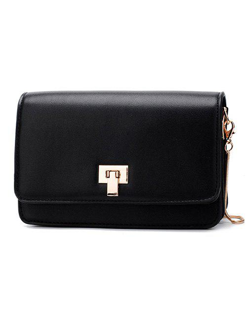 Retro Chain Flap Crossbody Bag - BLACK
