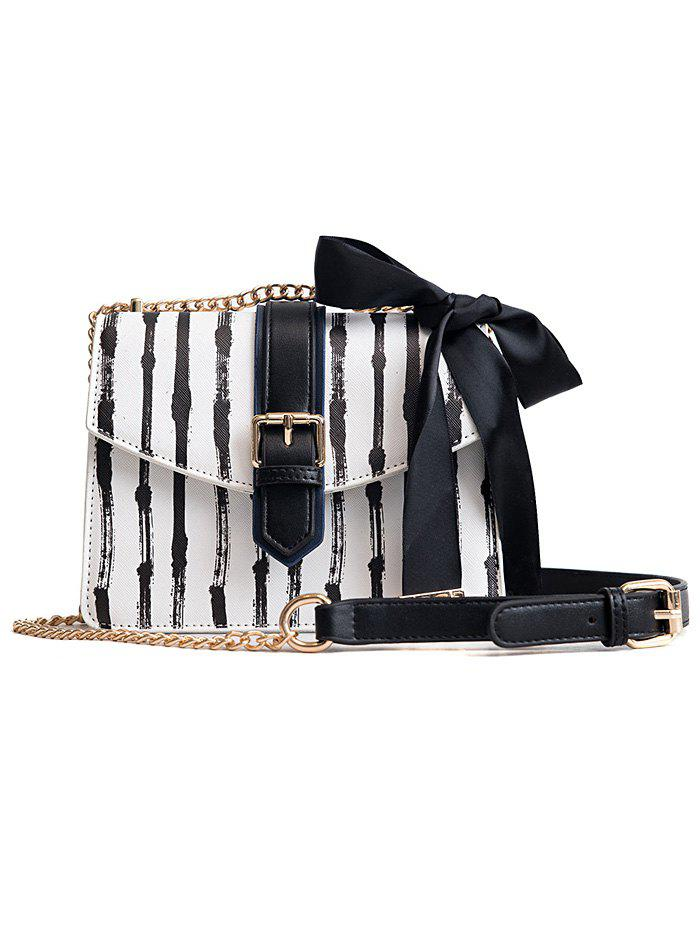 Ribbon Detail Striped Chain Crossbody Bag - BLACK