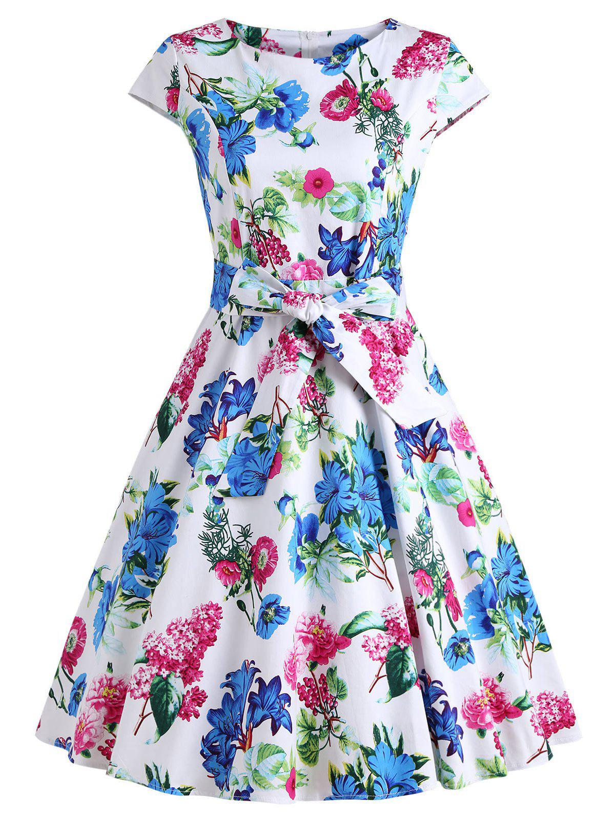 Retro Floral Print Party Swing Dress music note party swing dress