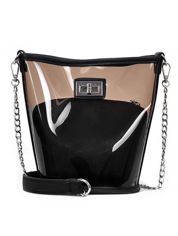 2 Piece Transparent Chain Crossbody Bag - BLACK