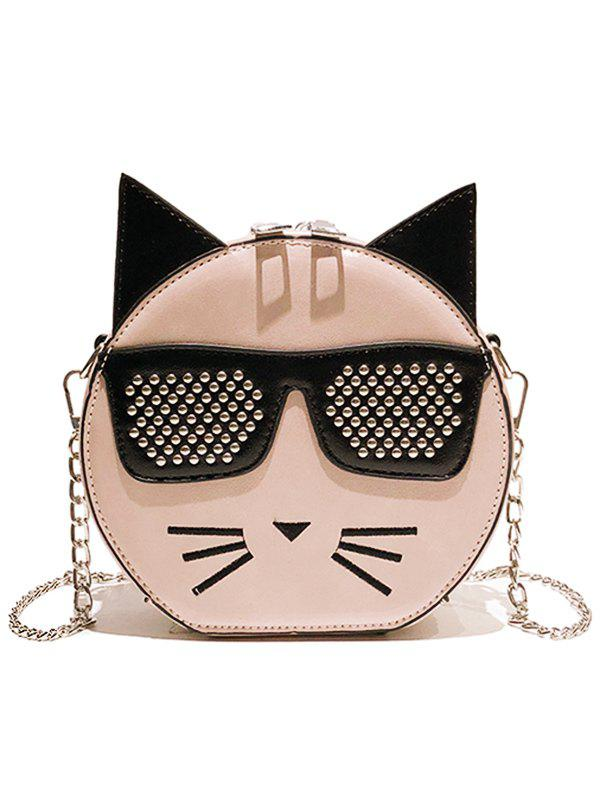 PU Leather Cartoon Crossbody Bag with Chain - LIGHT PINK