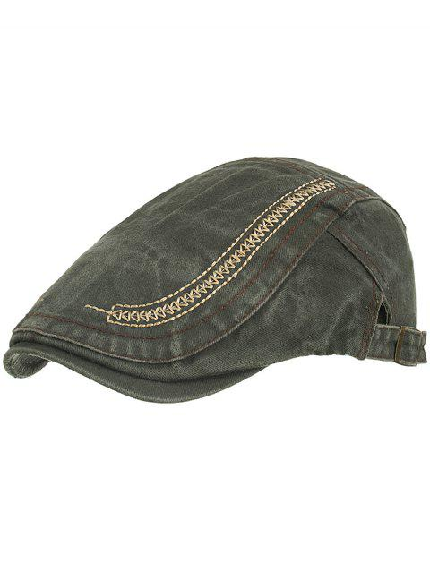 Simple Embroidery Washed Dyed Cabbie Hat - ARMY GREEN